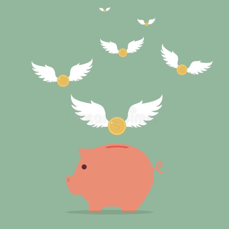 与翼的硬币飞行入存钱罐 向量例证