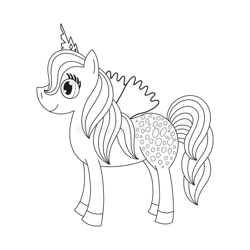 与翼的神仙的驹,孩子的彩图页 皇族释放例证