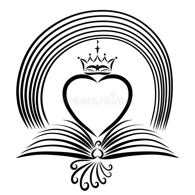 与翼的鸟以一本开放书,与乌鸦的心脏的形式 皇族释放例证