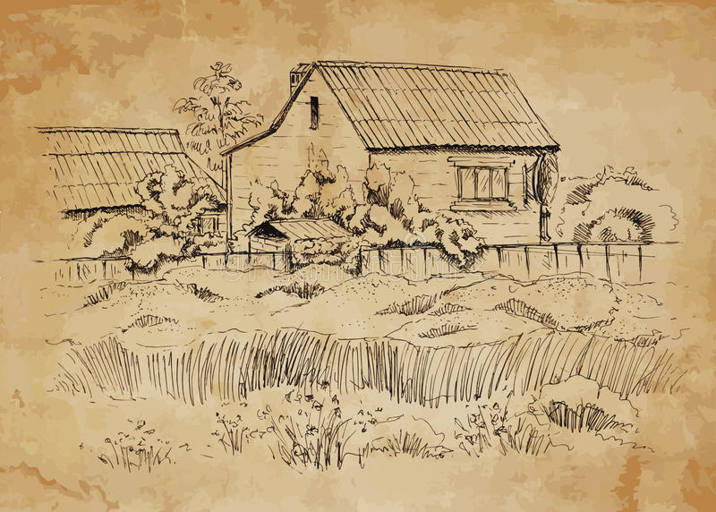 与老农舍的农村风景 库存照片
