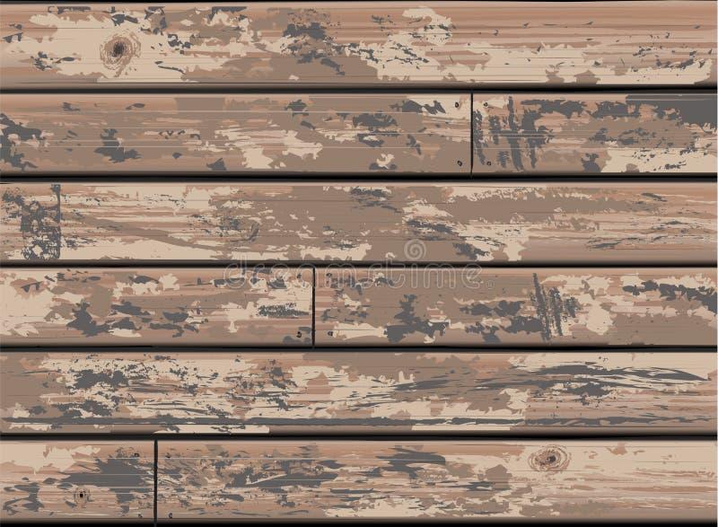 与老困厄的木材的减速火箭的布朗木墙壁背景 库存例证