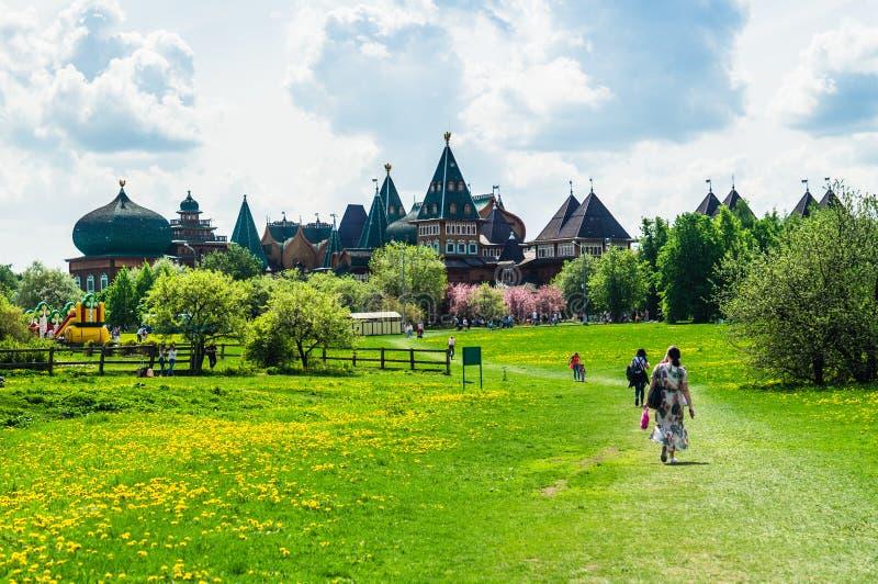 与老城堡的绿色草甸风景在距离 图库摄影