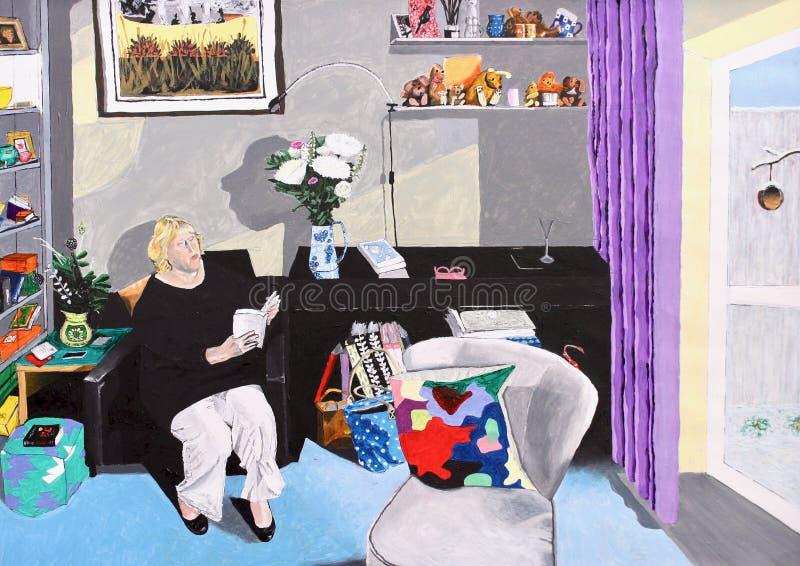 与老妇人的完善的室内设计在小休息室 向量例证