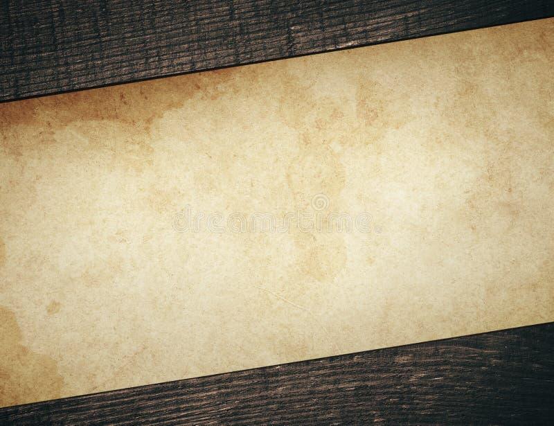 与老木板条的葡萄酒肮脏的纸 库存图片