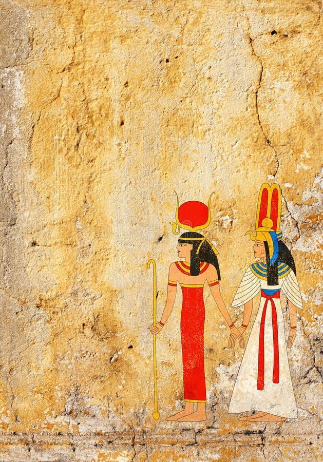 与老灰泥纹理和埃及女神的难看的东西背景我 库存例证