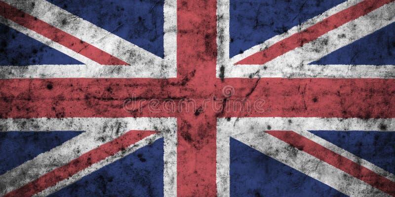 与老肮脏的被弄皱的纸高细节的英国旗子  3d例证 皇族释放例证