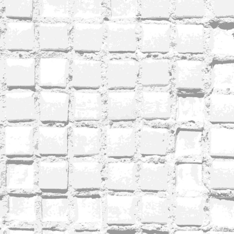 与老脏的瓦片样式和明亮的损坏的纹理的白色背景 皇族释放例证