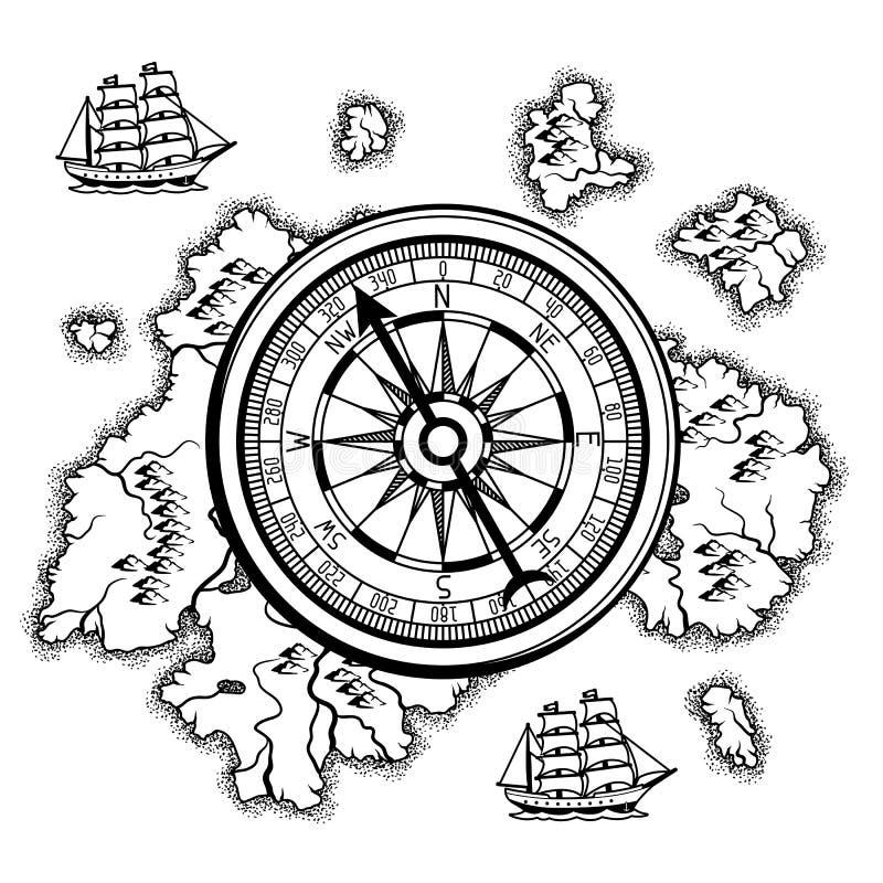 与老船舶地图的背景 皇族释放例证