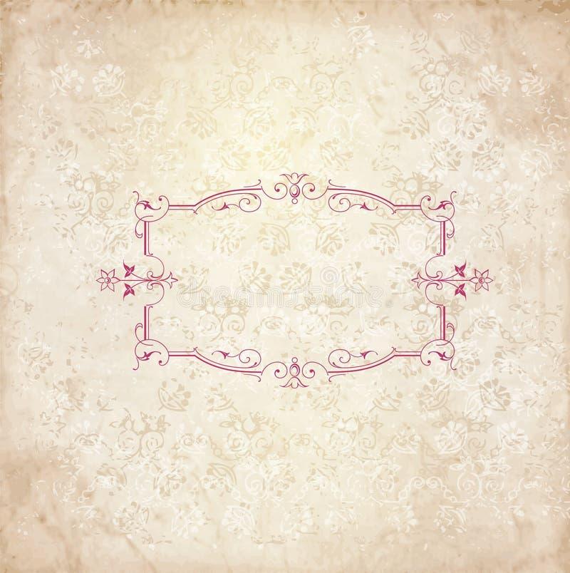 与老花卉框架空间的葡萄酒背景您的文本的 皇族释放例证