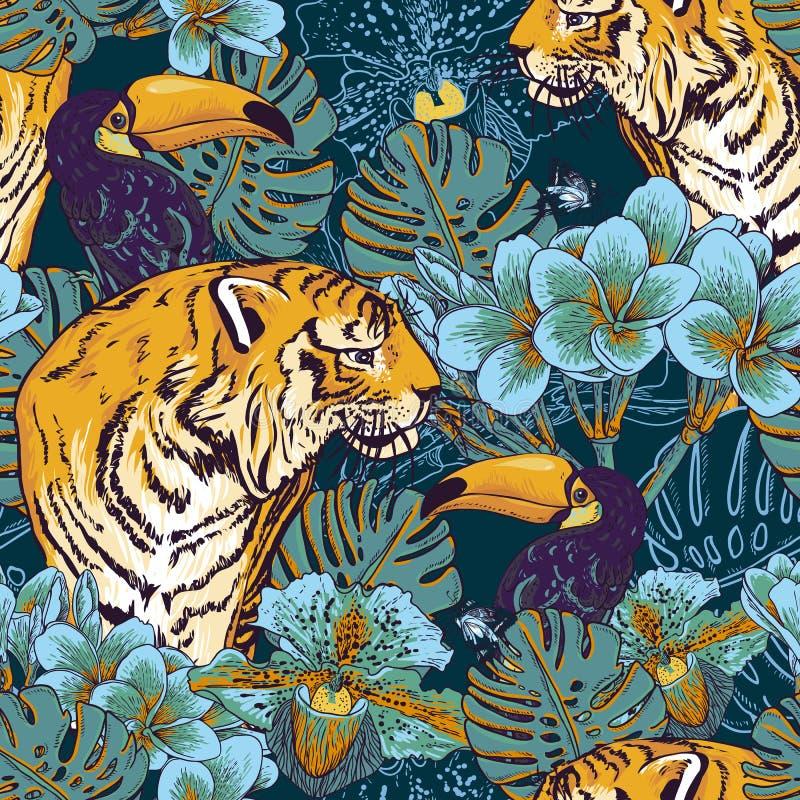 与老虎的热带花卉无缝的背景 向量例证