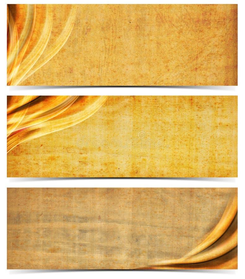 与老被染黄的纸的三副横幅 皇族释放例证