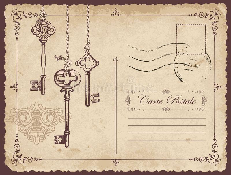 与老钥匙和匙孔的葡萄酒明信片 向量例证