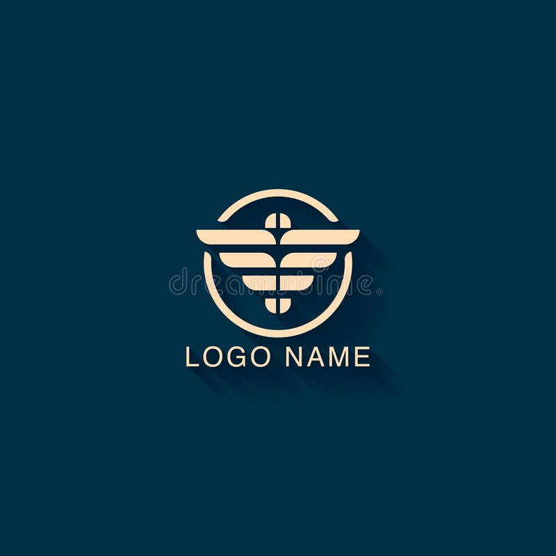 与老鹰形状概念的抽象商标设计 最低纲领派商标设计模板 向量例证