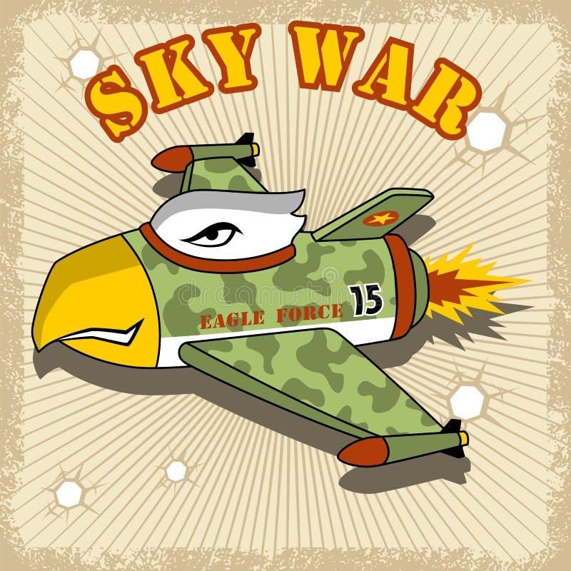 与老鹰特点的一部喷气式歼击机动画片 向量例证