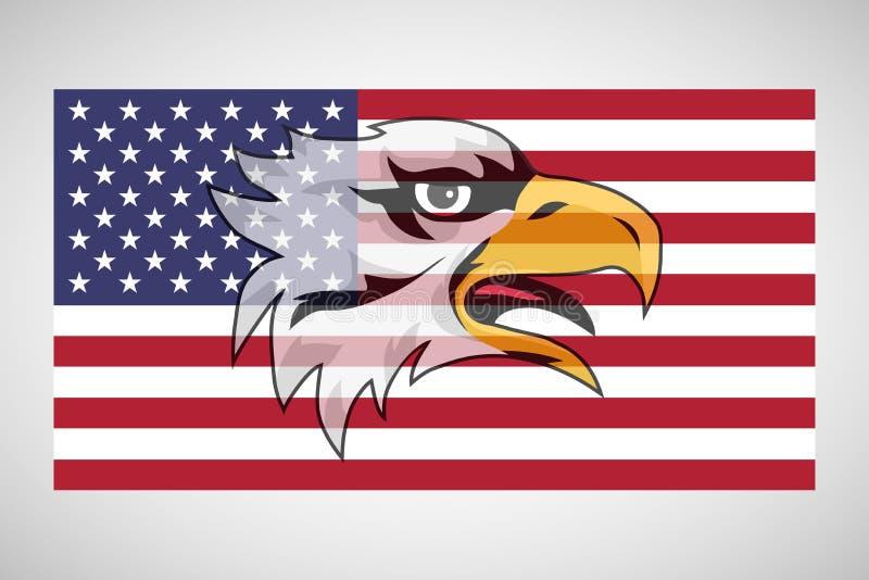 与老鹰的美国国旗 皇族释放例证