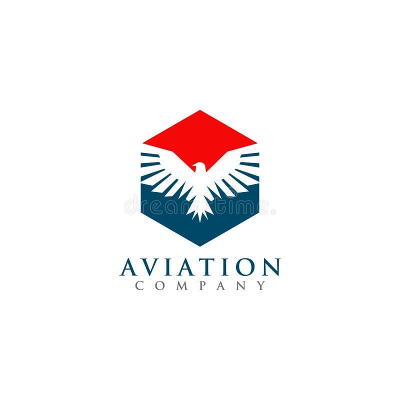 与老鹰象的六角商标设计航空公司的 向量例证