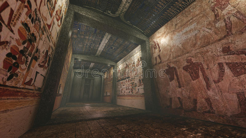 与老wallpaintings的坟茔在古埃及 皇族释放例证