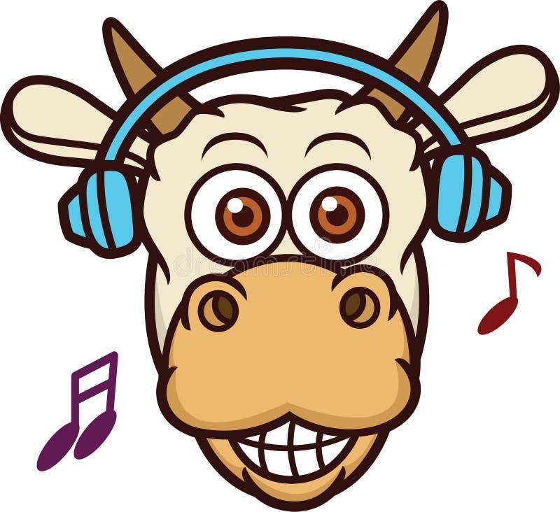 与耳机动画片的母牛听的音乐 库存照片