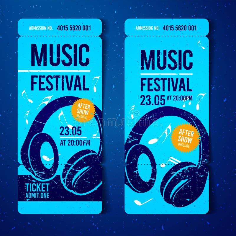 与耳机和难看的东西作用的传染媒介音乐节蓝色票设计模板 皇族释放例证