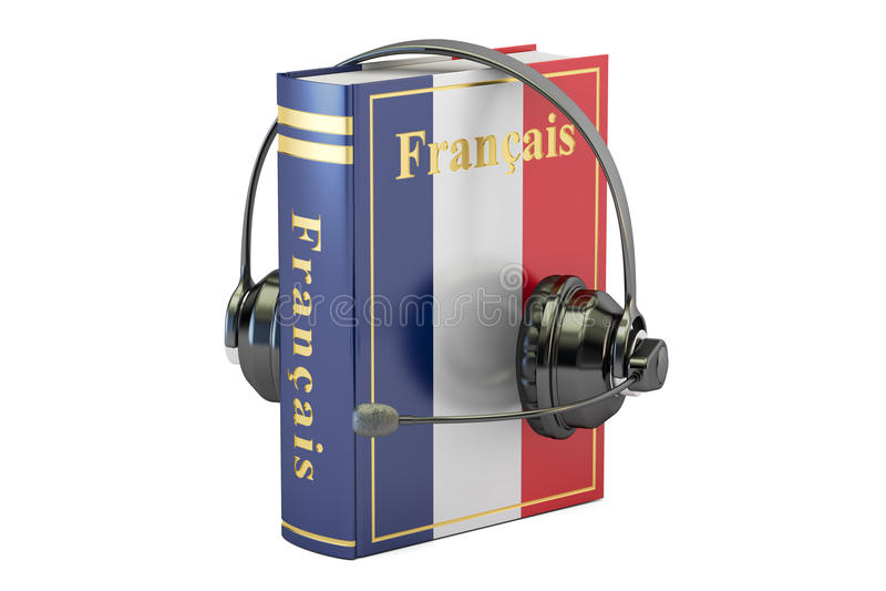 与耳机的法语课本,学会和翻译co 库存例证