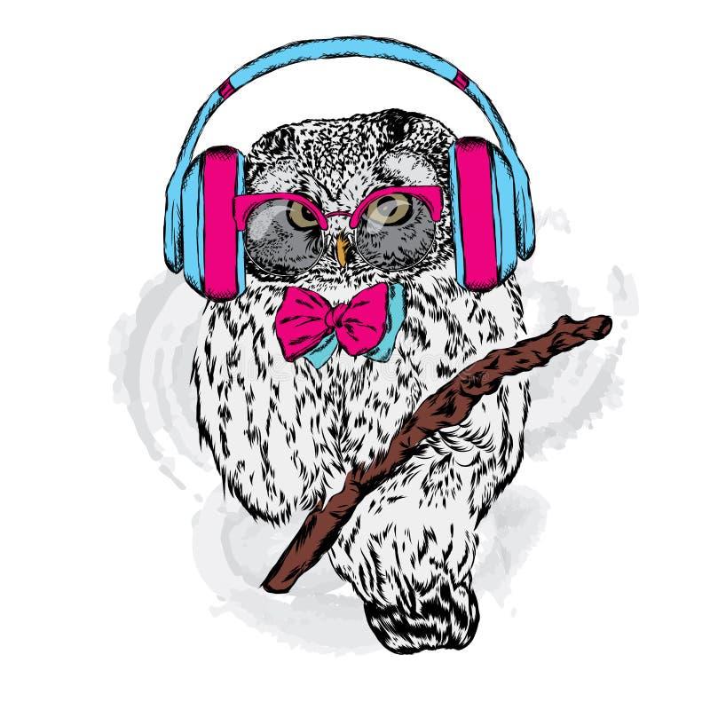 与耳机的猫头鹰 库存例证