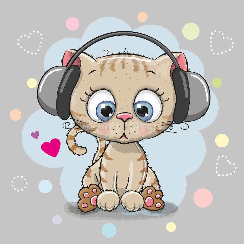 与耳机的逗人喜爱的动画片小猫 向量例证