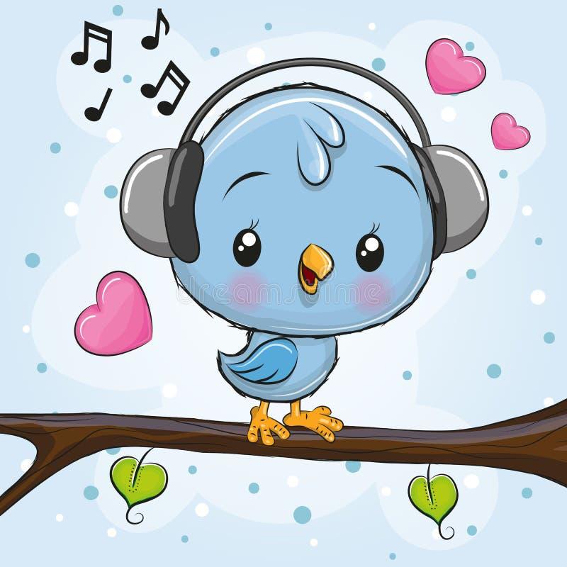 与耳机的逗人喜爱的鸟在分支 向量例证