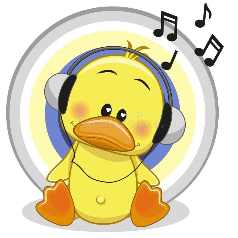与耳机的鸭子 向量例证
