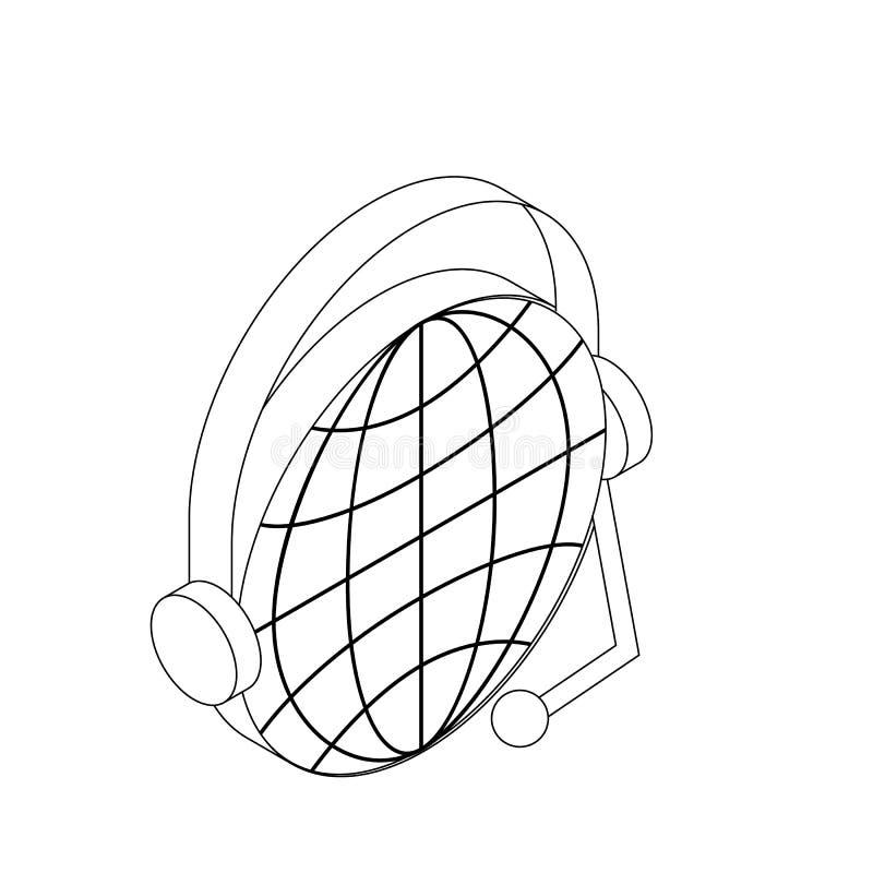 与耳机象,等量3d的地球样式 向量例证