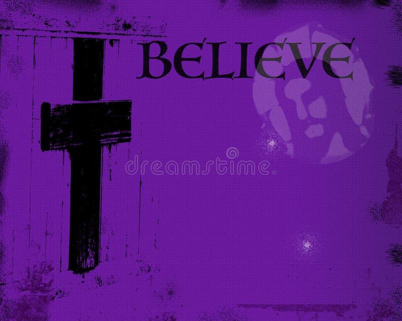 与耶稣和十字架的紫色背景 皇族释放例证
