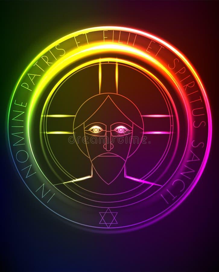 与耶稣的霓虹例证,艺术装饰样式的 皇族释放例证