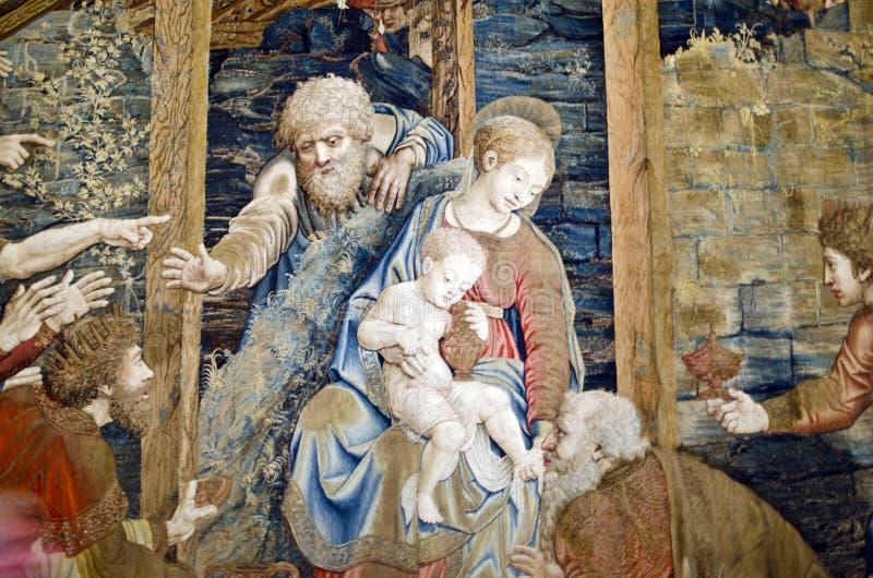与耶稣,梵蒂冈博物馆的挂毯 免版税图库摄影