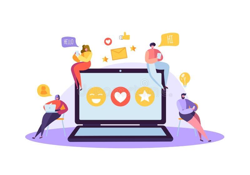 与聊天在小配件的字符的社会媒介概念 使用移动设备的小组平的人民 社会网络 向量例证
