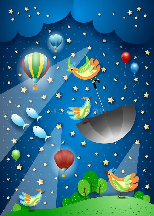 与聚光灯、飞行的伞和鱼的超现实的夜 库存图片