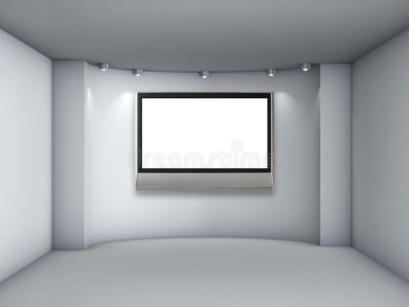 与聚光灯和lcd电视的适当位置 向量例证