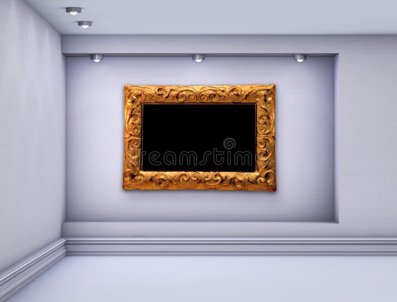 与聚光灯的展览的适当位置和框架 向量例证