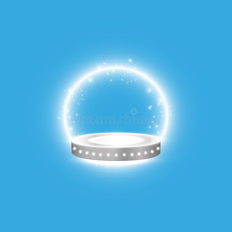 与聚光灯的抽象光亮的指挥台背景 白色闪烁的场面 您赢取豪华、成功和珍宝设计 库存例证