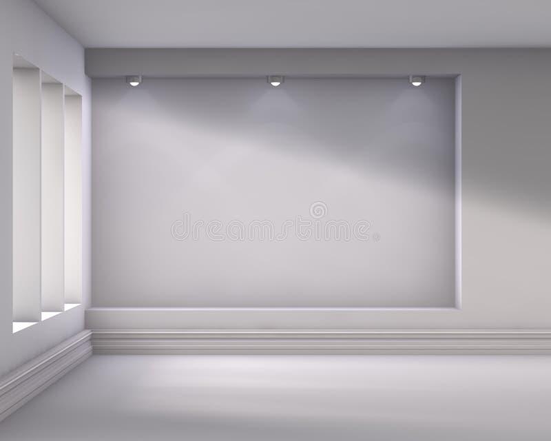 与聚光灯的空的适当位置展览的 库存例证