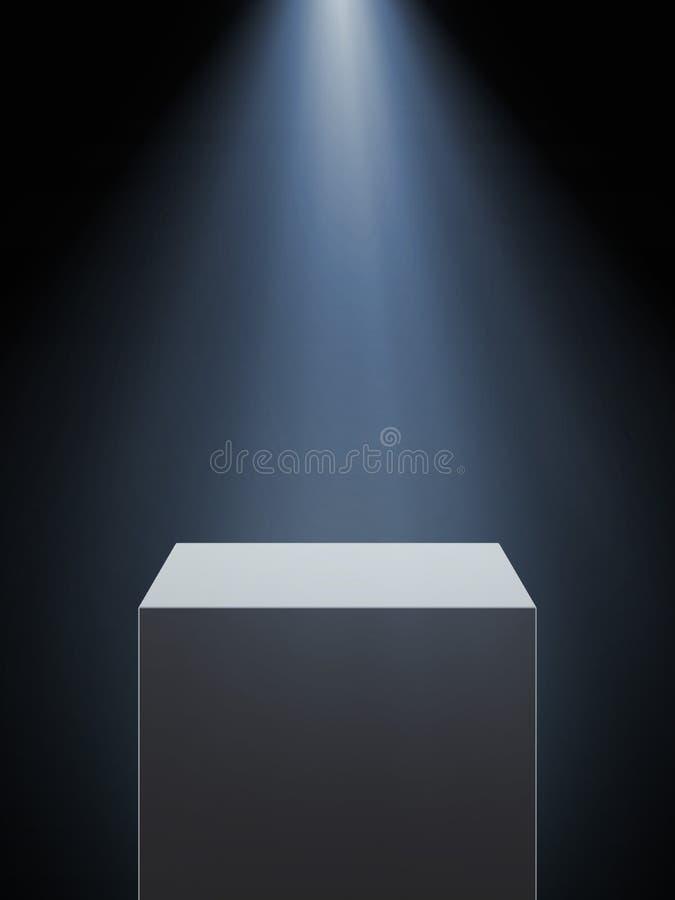 与聚光灯的空的陈列室 库存例证