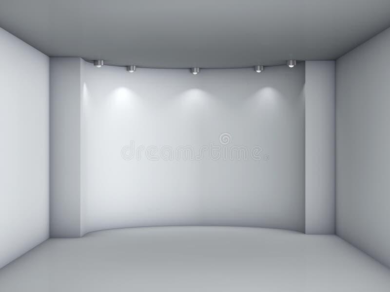 与聚光灯的适当位置在灰色内部的展览的 向量例证