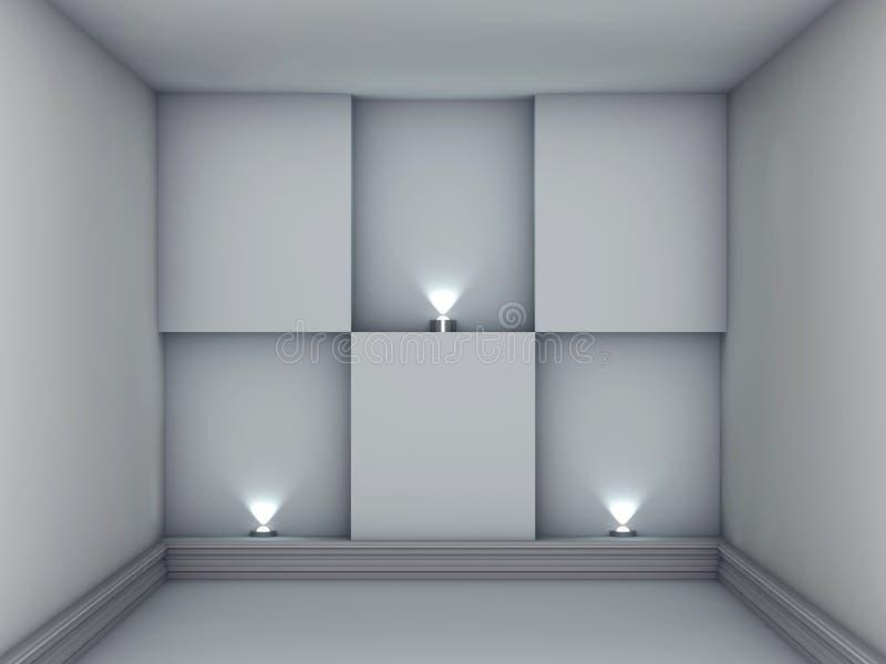 与聚光灯的适当位置在灰色内部 向量例证