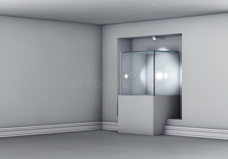 与聚光灯的陈列室和适当位置展览的 库存例证