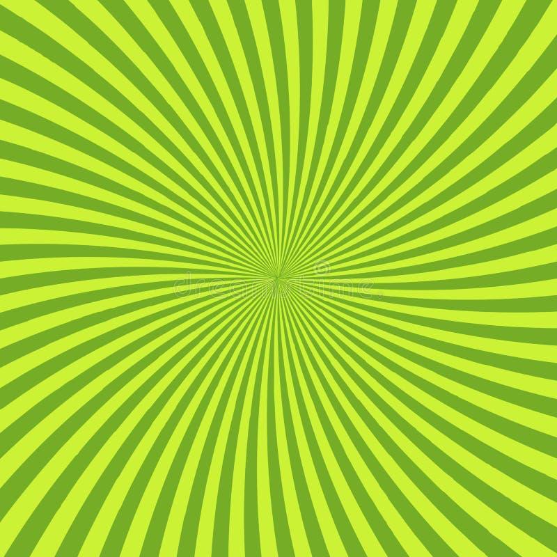 与聚合在中心的光芒、线或者条纹的绿色荧光的背景 与发光的方形的装饰背景 库存例证