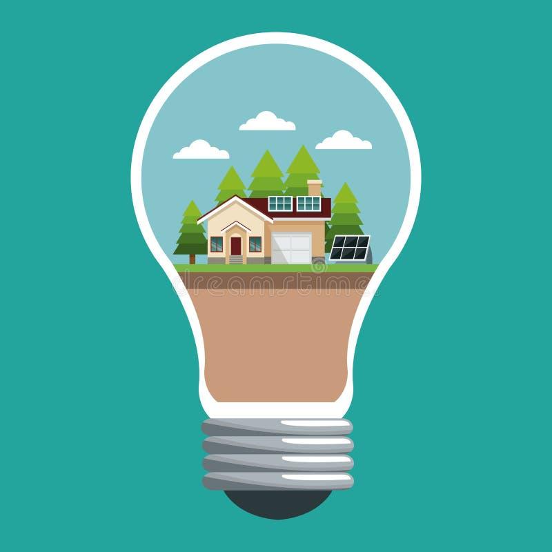 与聪明的太阳房子生态的盘区的电灯泡 皇族释放例证