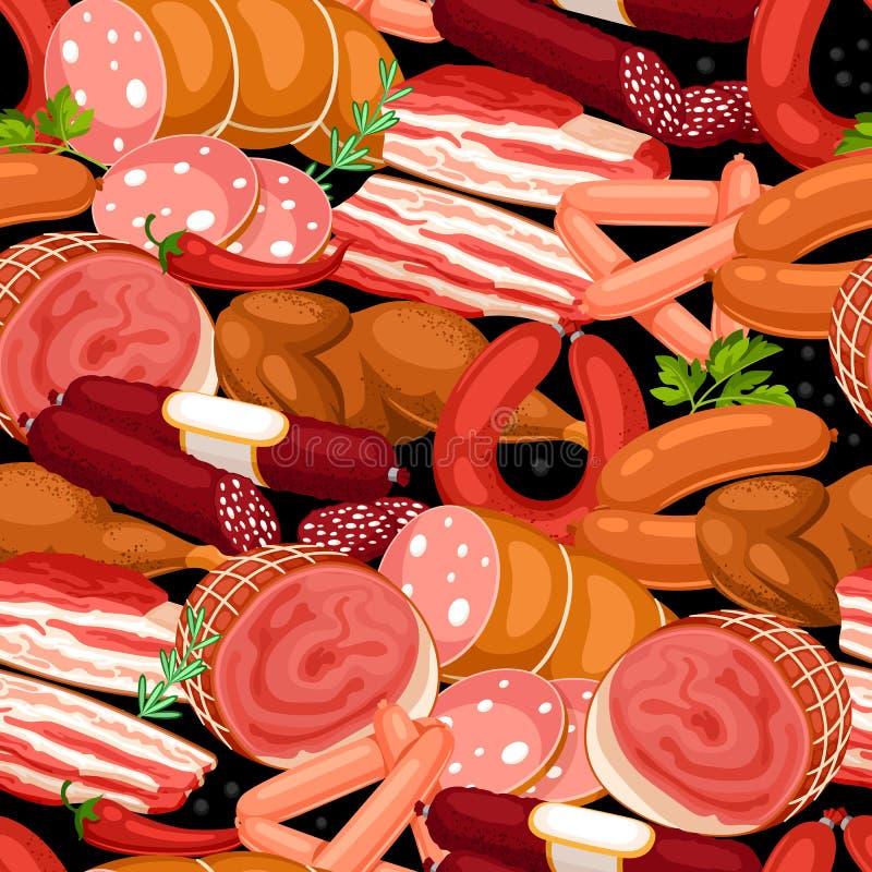 与肉制品的无缝的样式 香肠、烟肉和火腿的例证 库存例证