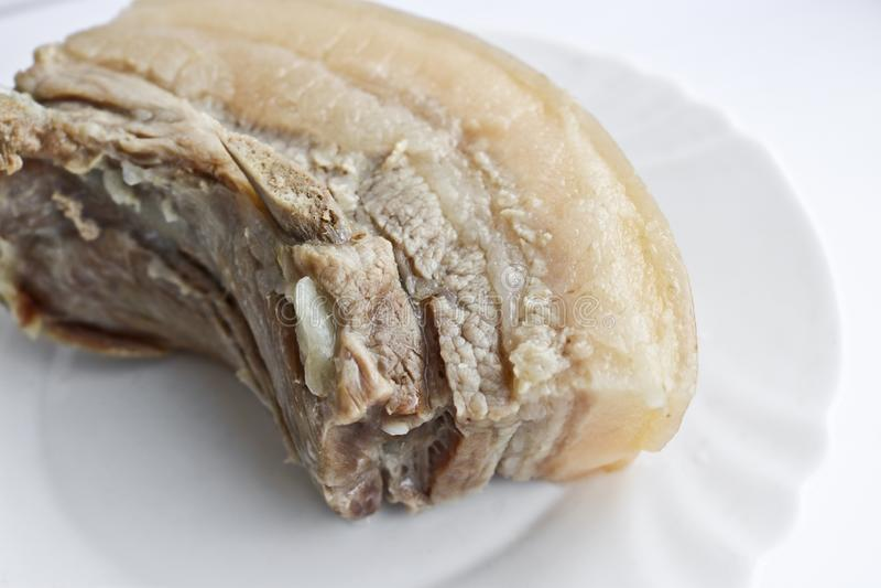 与肋骨的煮沸的猪肉猪油 营养饭食 图库摄影
