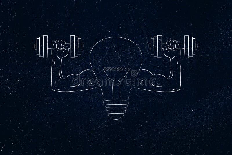 与肌肉的武器储备dumbbel的强的想法电灯泡标志 皇族释放例证