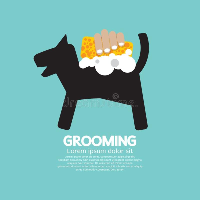 与肥皂和海绵宠物修饰概念的狗阵雨 库存例证