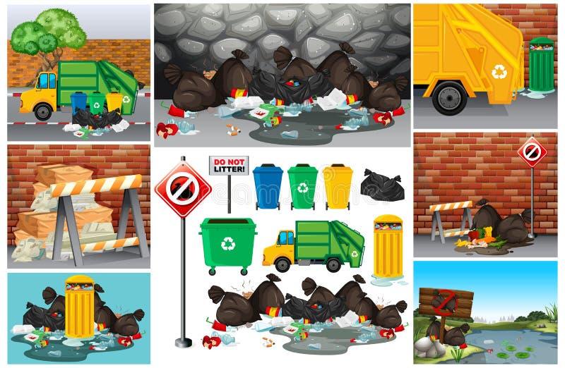 与肮脏的垃圾的场面在路 库存例证