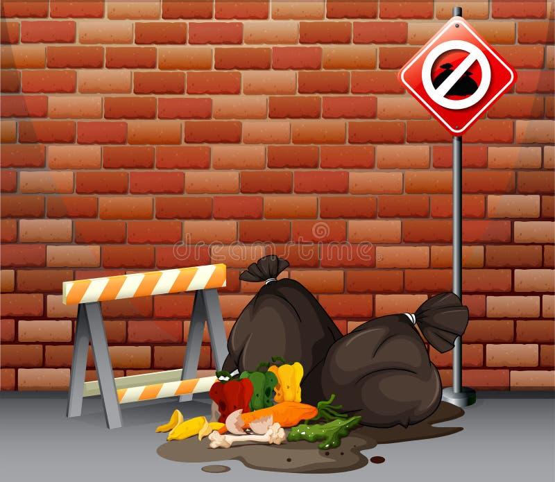 与肮脏的垃圾的街道场面在地板上 库存例证